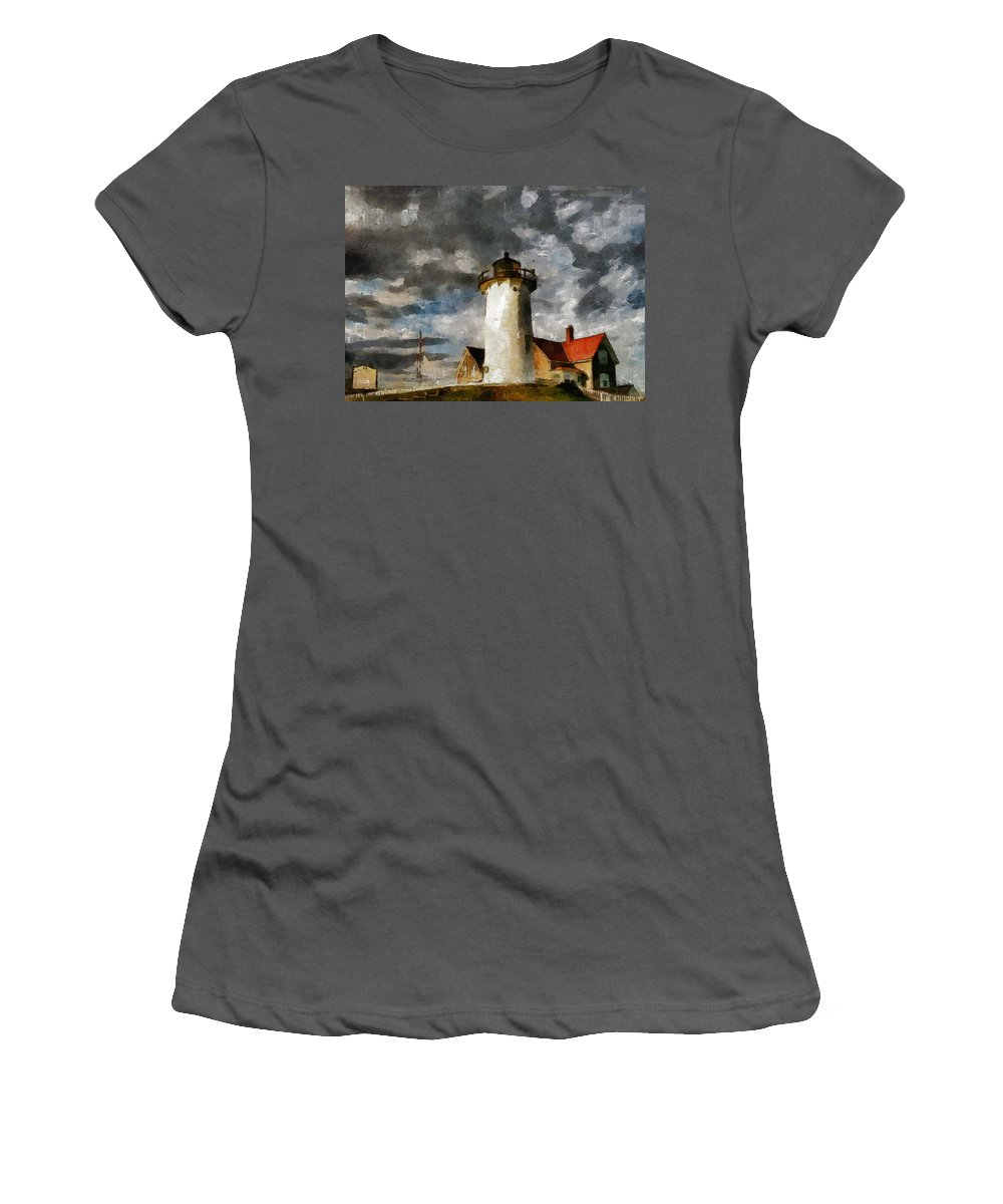 Impressionism Women's T-Shirt (Athletic Fit) featuring the painting Light House In A Storm by Georgiana Romanovna