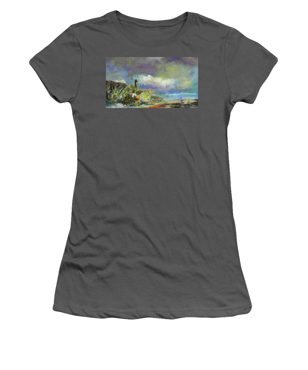 Art Women's T-Shirt (Athletic Fit) featuring the painting Lighthouse And Fisherman by Julianne Felton