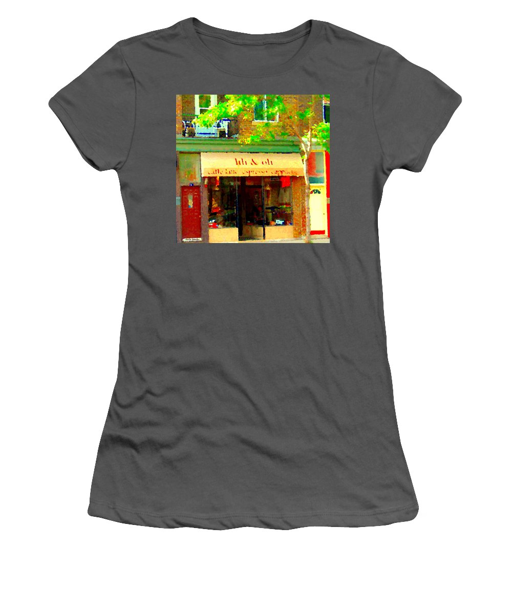 St.henri Women's T-Shirt (Athletic Fit) featuring the painting Lili And Oli Latte Espresso Cappucino Coffee Shop Rue Notre Dame St Henri City Scene Carole Spandau by Carole Spandau