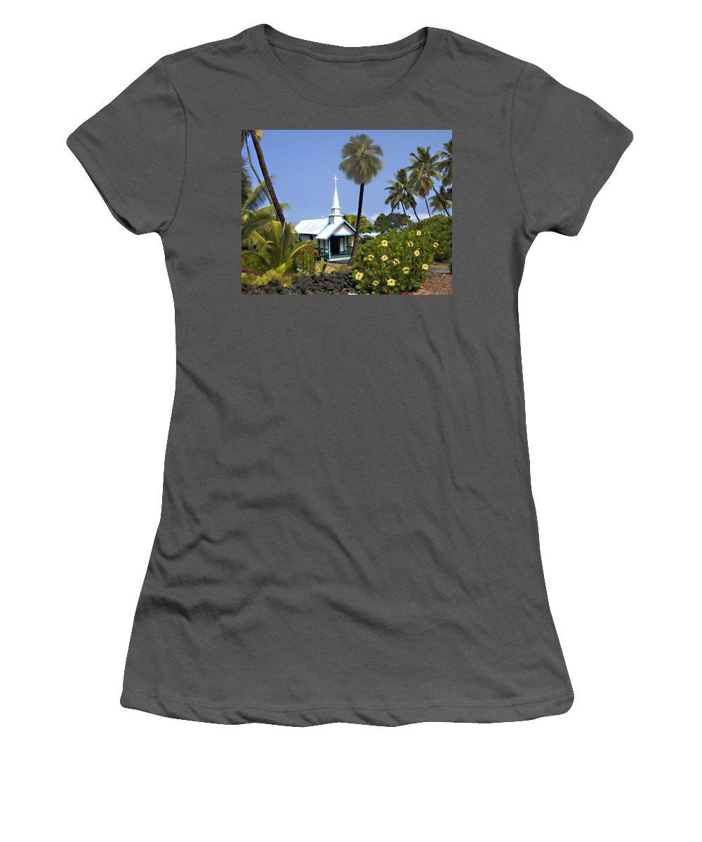 Hawaii Women's T-Shirt (Athletic Fit) featuring the photograph Little Blue Church Kona by Kurt Van Wagner