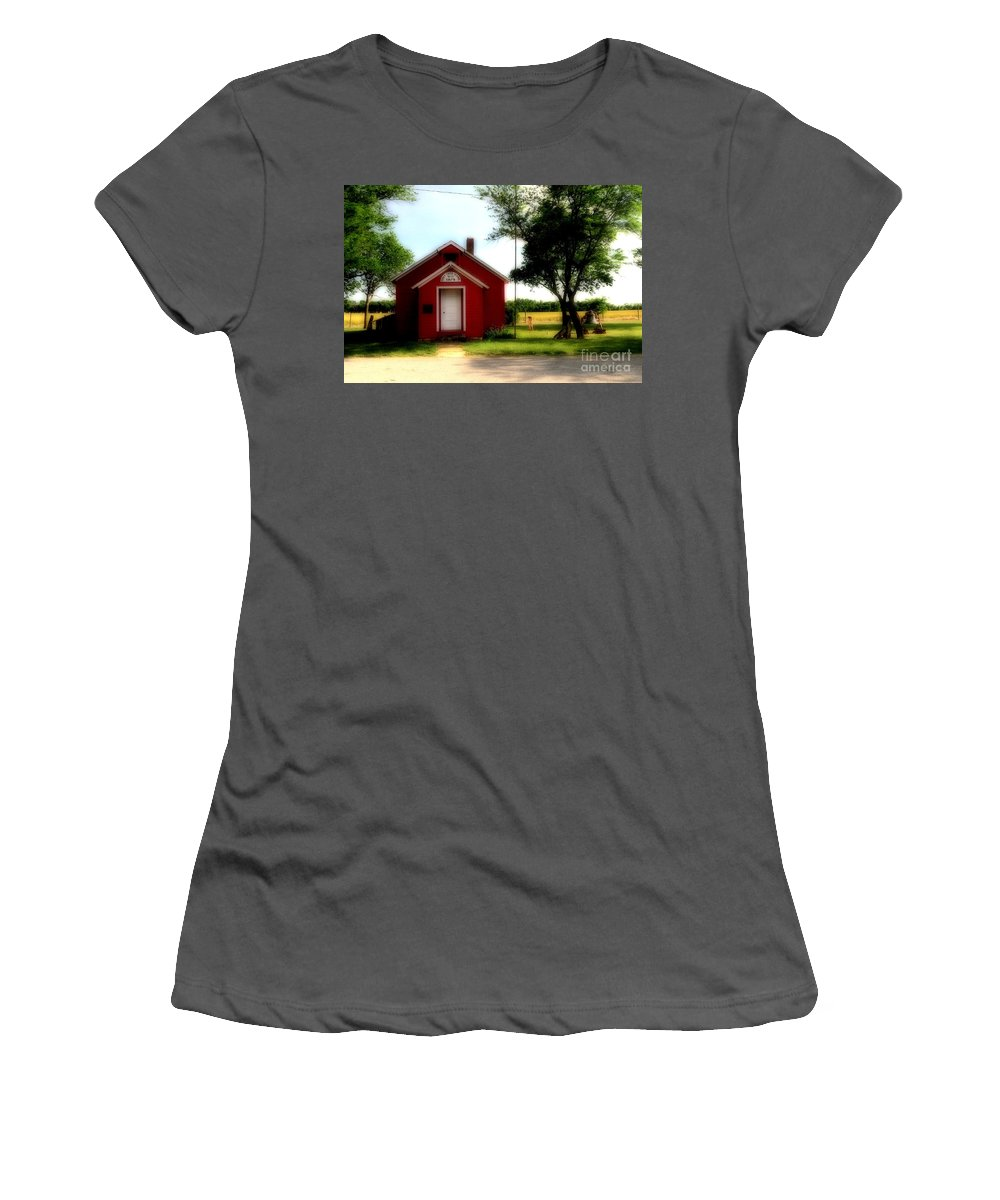 #red #schoo # Women's T-Shirt (Athletic Fit) featuring the photograph Little Red School House by Kathleen Struckle