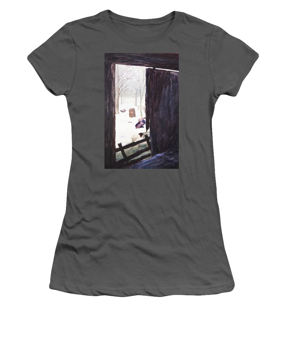 Landscape Women's T-Shirt (Athletic Fit) featuring the painting Looking Out Looking In by Rachel Christine Nowicki
