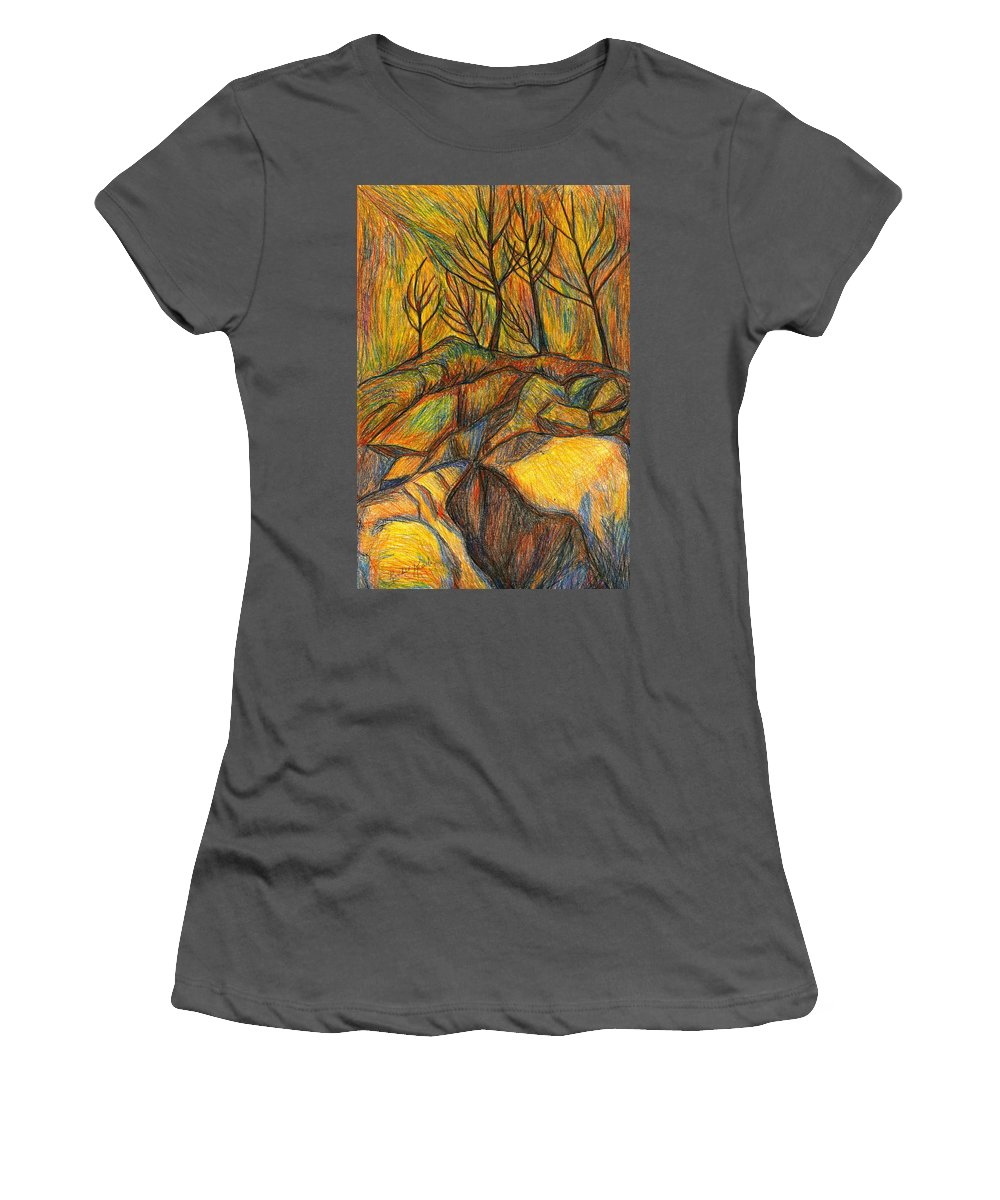 Kendall Kessler Women's T-Shirt (Athletic Fit) featuring the drawing Looking Up In Yellow Light by Kendall Kessler