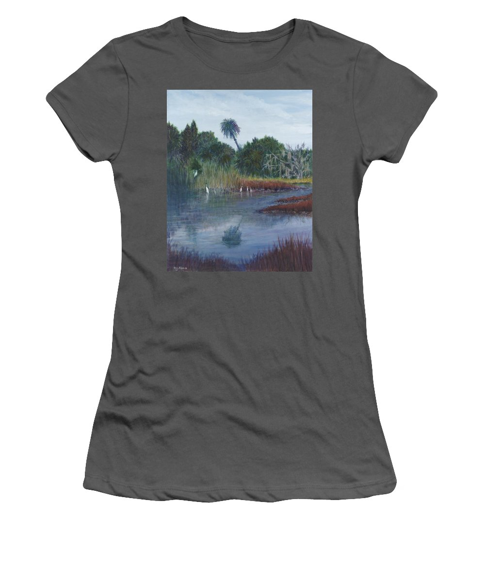 Landscape Women's T-Shirt (Athletic Fit) featuring the painting Low Country Social by Ben Kiger