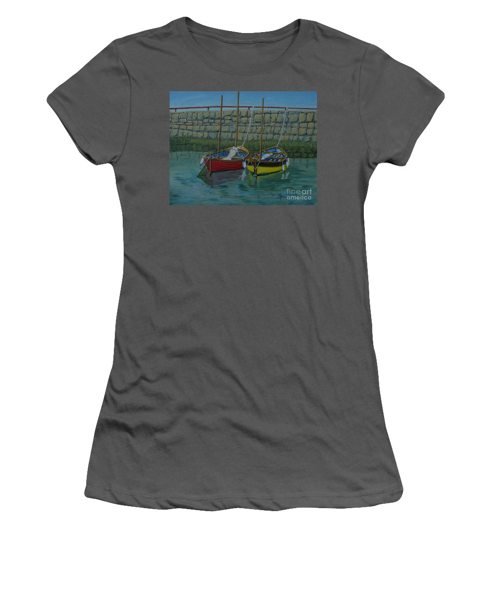 Rock Women's T-Shirt (Athletic Fit) featuring the painting Low Tide by Anthony Dunphy