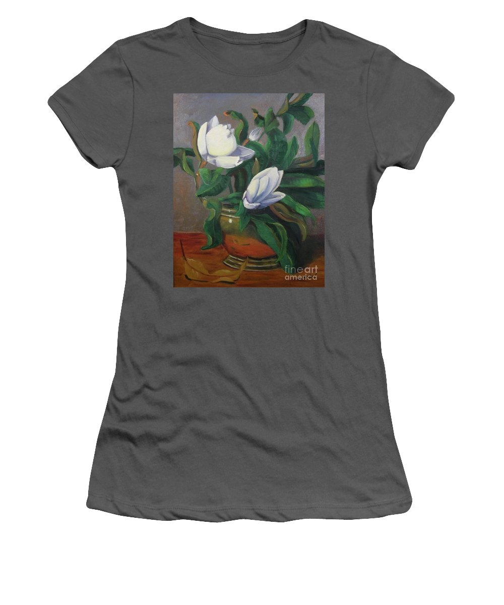 Floral Women's T-Shirt (Athletic Fit) featuring the painting Magnolias On Brass by Lilibeth Andre