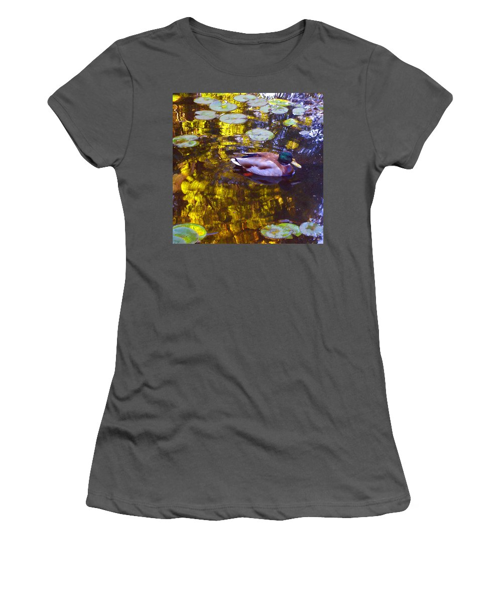 Landscapes Women's T-Shirt (Athletic Fit) featuring the painting Mallard Duck On Pond 2 by Amy Vangsgard