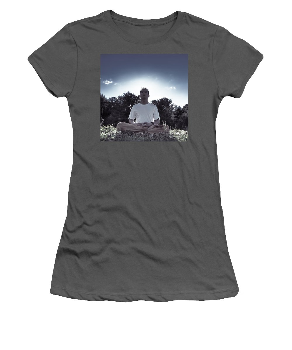 Meditation Women's T-Shirt (Athletic Fit) featuring the photograph Man Meditating In The Nature During Sunrise by Oleksiy Maksymenko