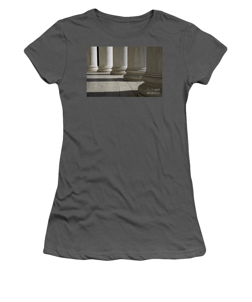 Marble Women's T-Shirt (Athletic Fit) featuring the photograph Marble Columns Of Thomas Jefferson Memorial by B Christopher