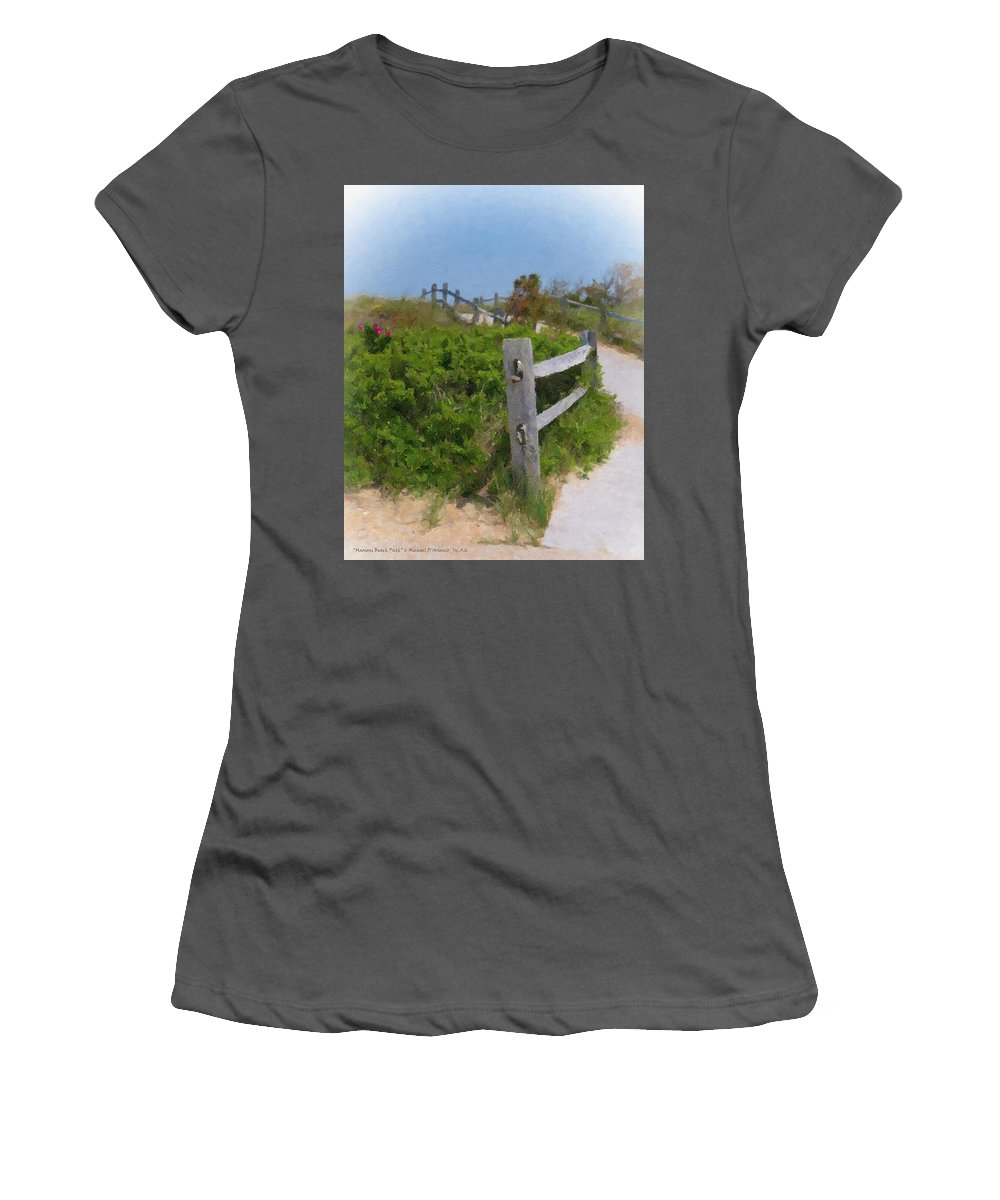 Marconi Beach Path Women's T-Shirt (Athletic Fit) featuring the painting Marconi Beach Path by Michael DArienzo