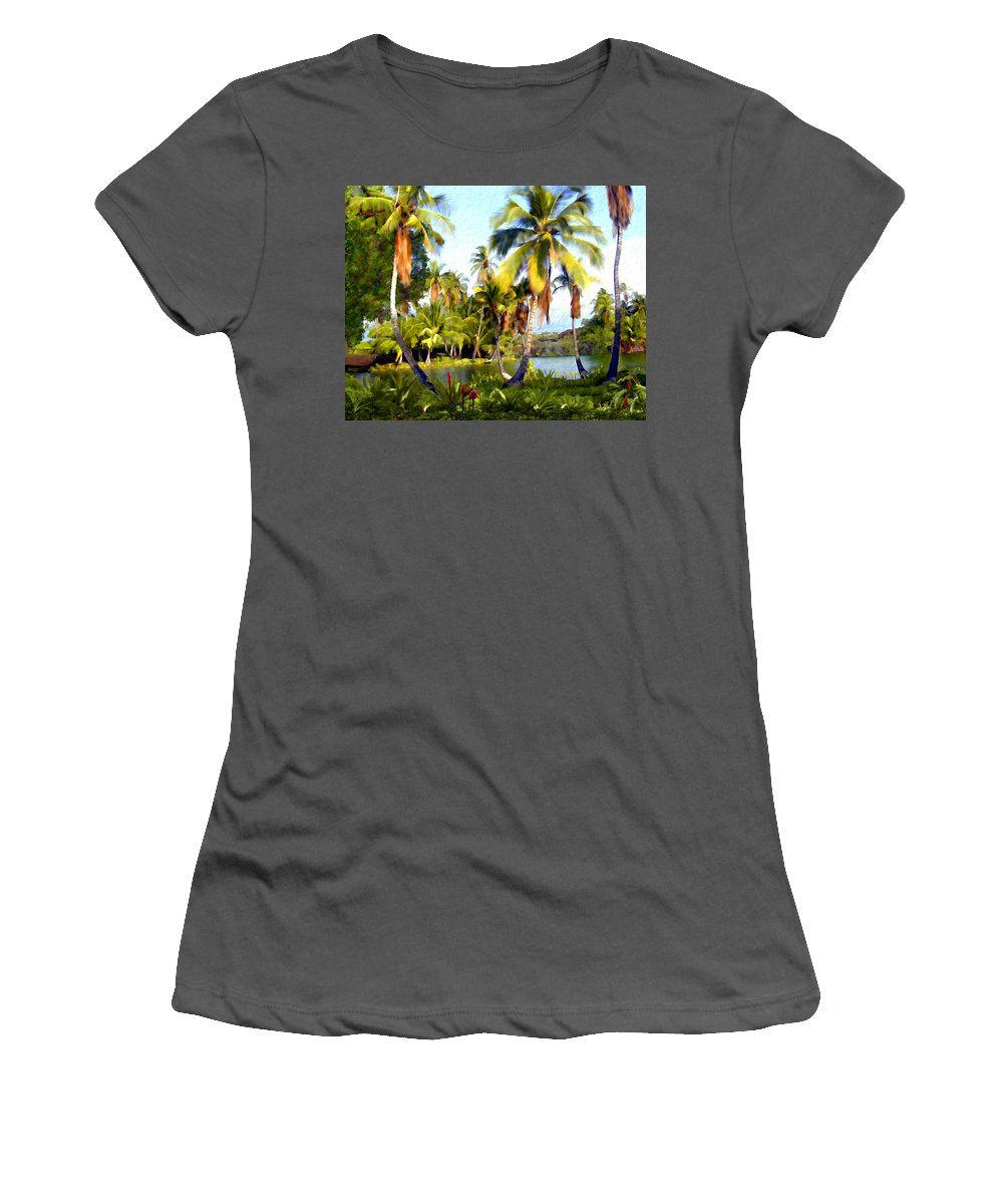 Hawaii Women's T-Shirt (Athletic Fit) featuring the photograph Mauna Lani Fish Ponds by Kurt Van Wagner