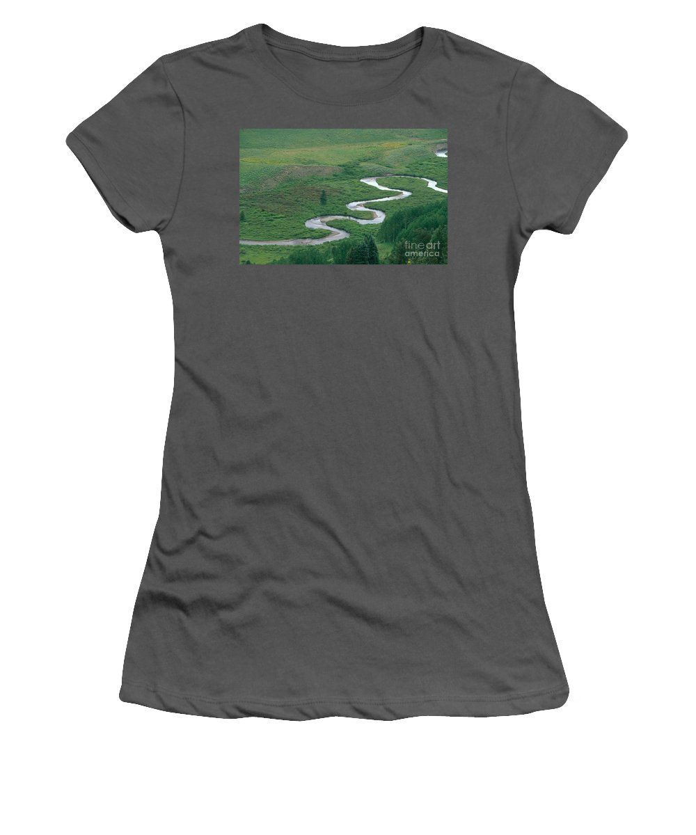 East River Women's T-Shirt (Athletic Fit) featuring the photograph Meandering East River by David Davis