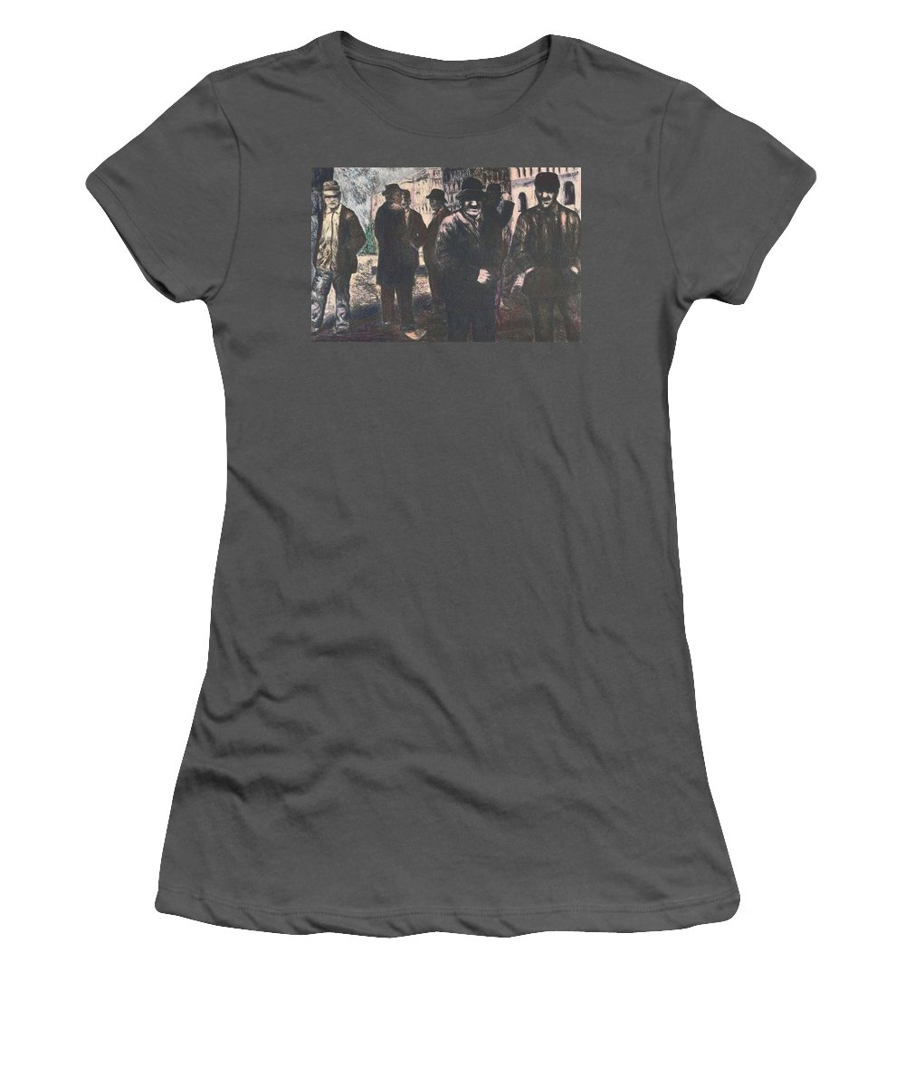 Men Women's T-Shirt (Athletic Fit) featuring the drawing Men In Yellow Light by Kendall Kessler