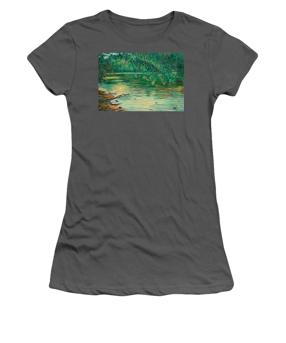 Landscape Women's T-Shirt (Athletic Fit) featuring the painting Mid-spring On The New River by Kendall Kessler