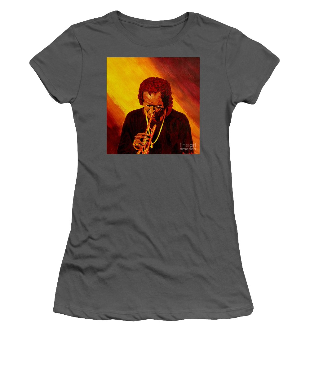 Miles Davis Women's T-Shirt (Athletic Fit) featuring the painting Miles Davis Jazz Man by Anthony Dunphy
