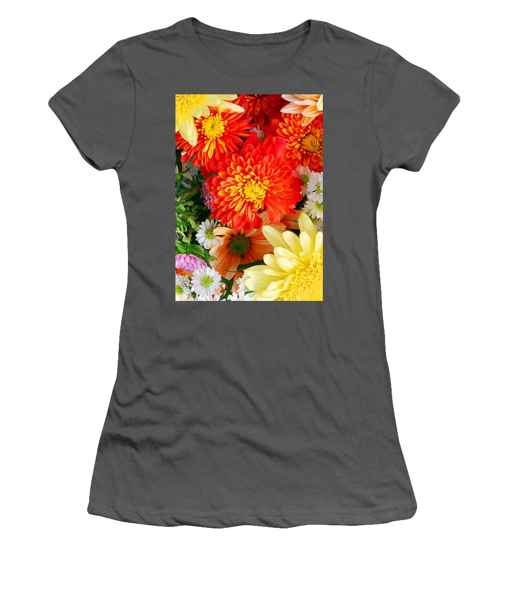 Flowers Women's T-Shirt (Athletic Fit) featuring the photograph Mixed Flowers by Munir Alawi