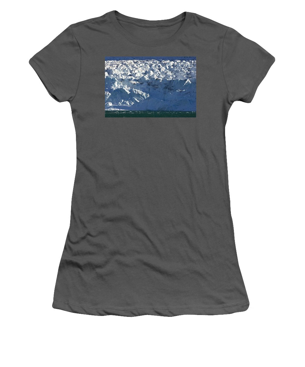 Feb0514 Women's T-Shirt (Athletic Fit) featuring the photograph Monaco Glacier Liefdefjorden Norway by Konrad Wothe