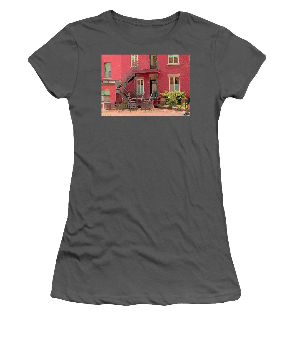 Women's T-Shirt (Athletic Fit) featuring the painting Montreal Memories The Old Neighborhood Timeless Triplex With Spiral Staircase City Scene C Spandau by Carole Spandau