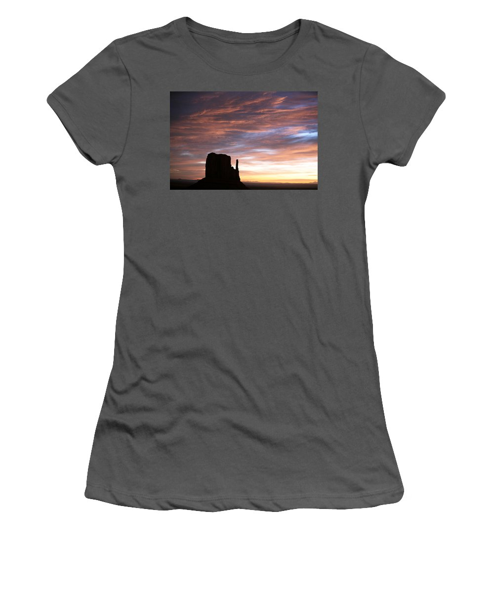 Monument Valley Women's T-Shirt (Athletic Fit) featuring the photograph Monument Valley by Cheryl Birkhead