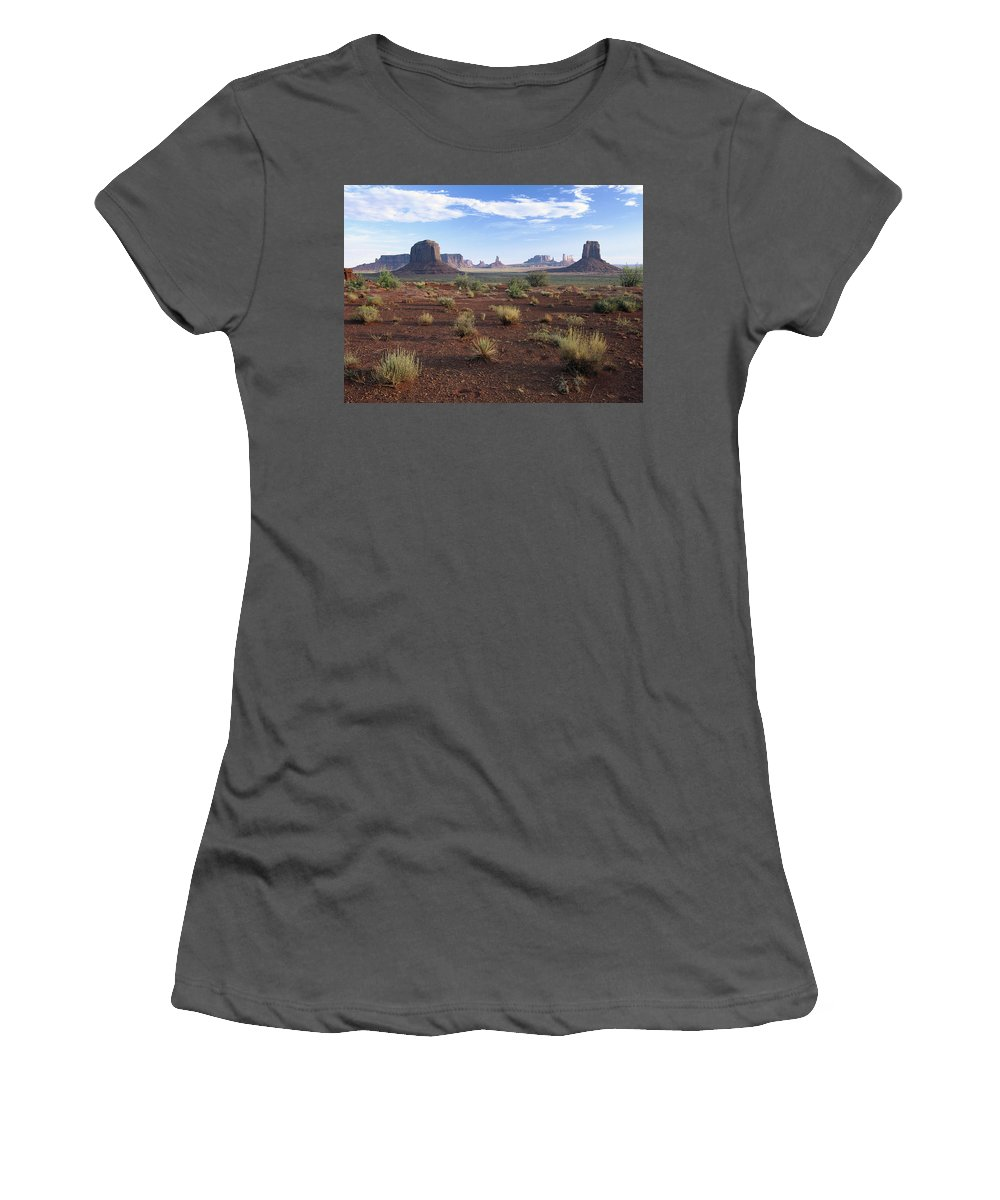 Feb0514 Women's T-Shirt (Athletic Fit) featuring the photograph Monument Valley From North Window by Tim Fitzharris
