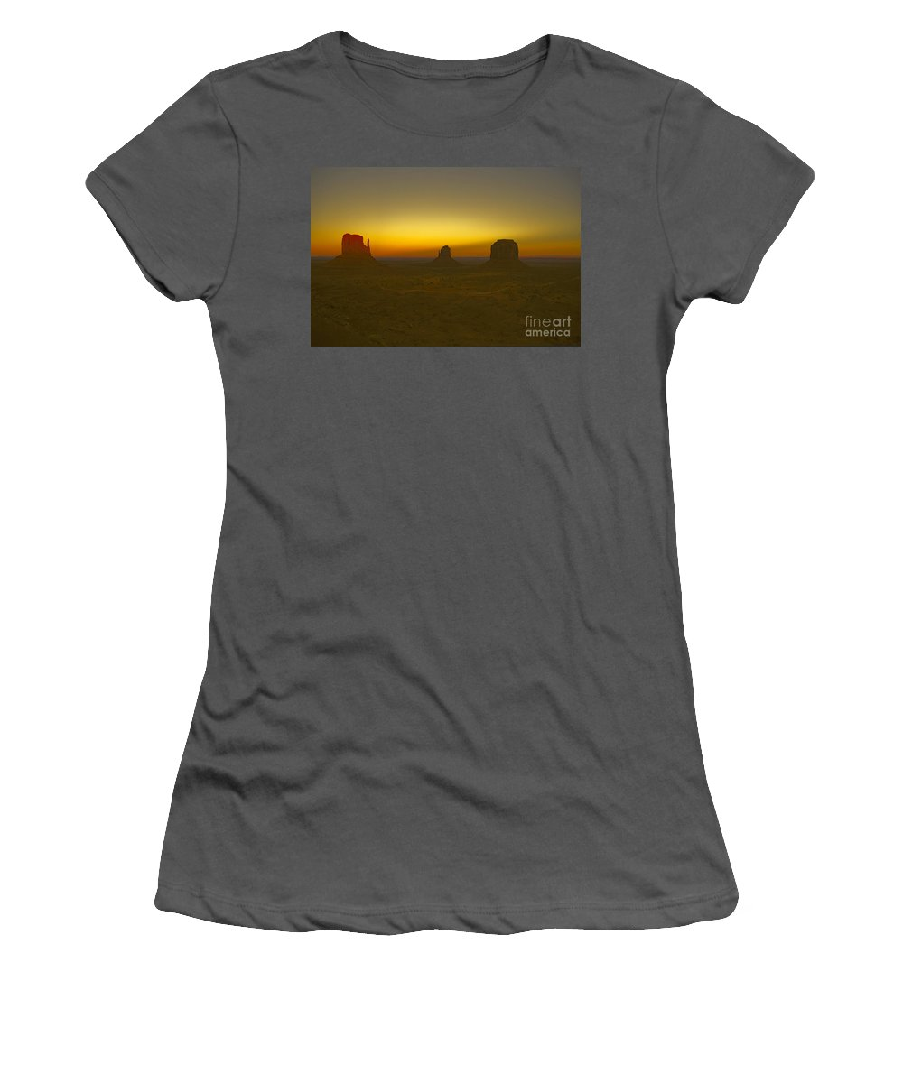 Monument Valley Women's T-Shirt (Athletic Fit) featuring the photograph Monument Valley -utah V4 by Douglas Barnard