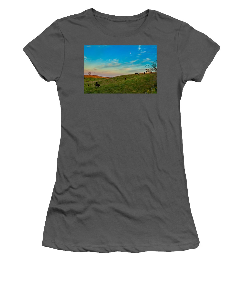 Pasture Women's T-Shirt (Athletic Fit) featuring the photograph Moo Moon by Steve Harrington