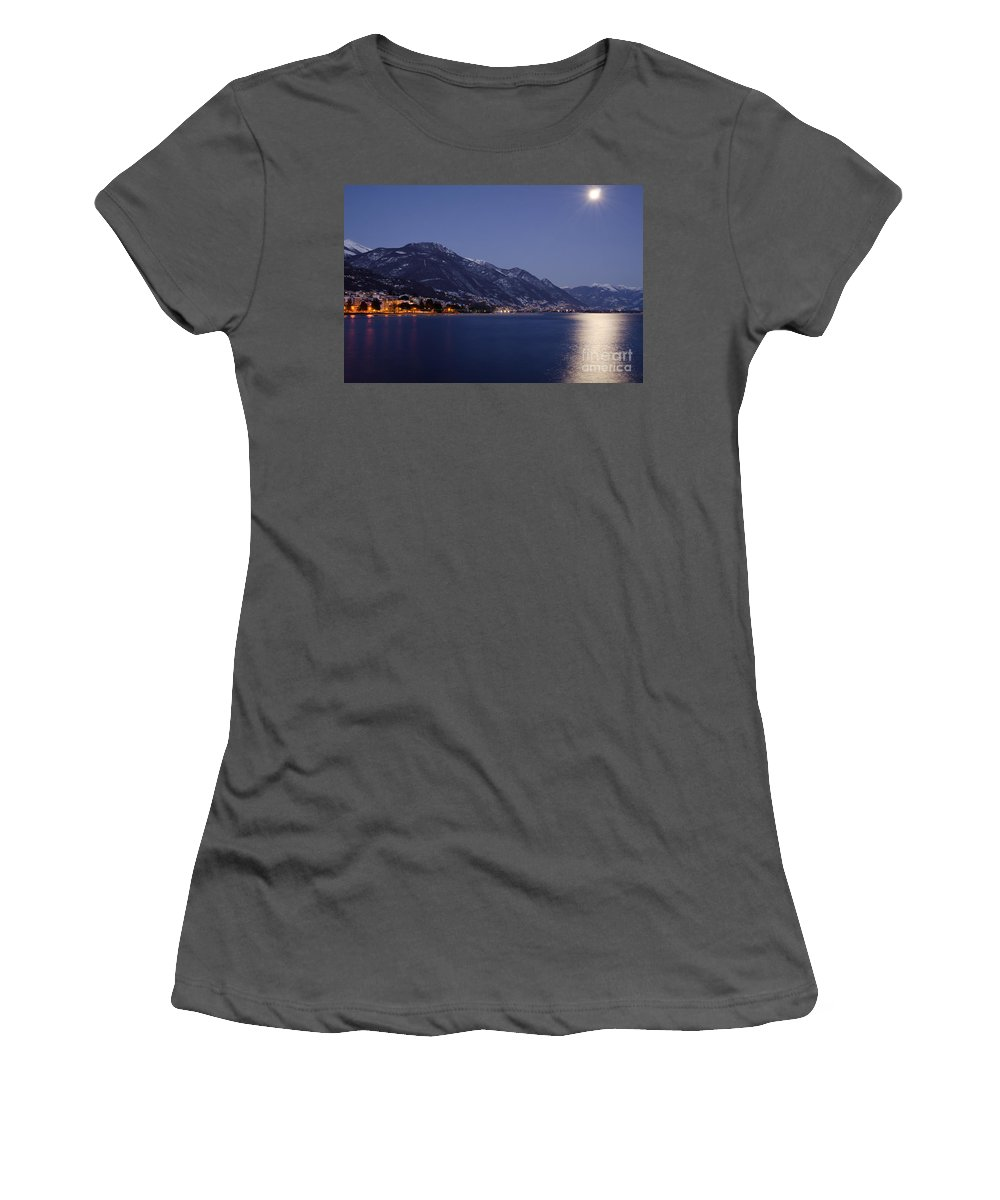 Moon Women's T-Shirt (Athletic Fit) featuring the photograph Moonlight Over A Lake by Mats Silvan