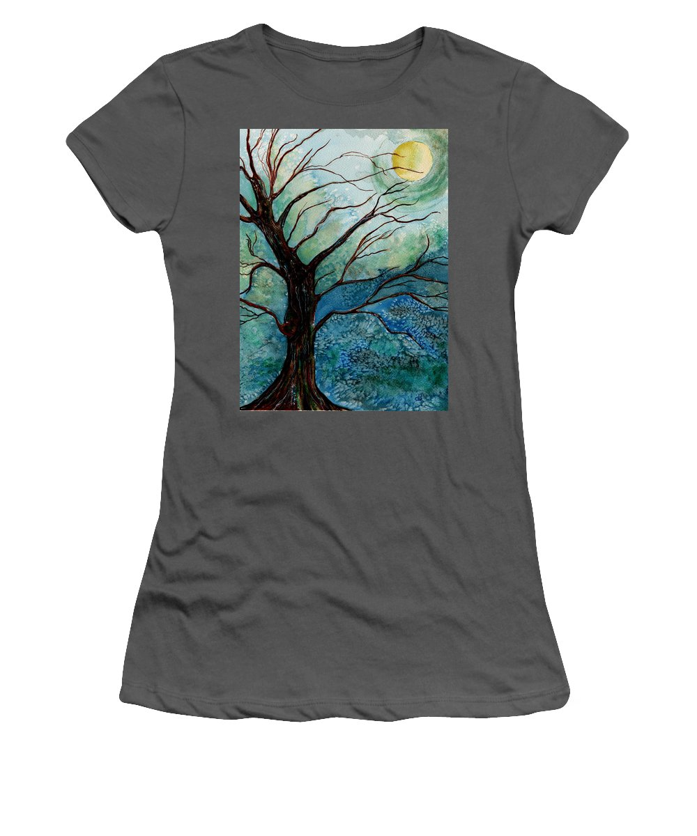 Landscape Women's T-Shirt (Athletic Fit) featuring the painting Moonrise In The Wild Night by Brenda Owen