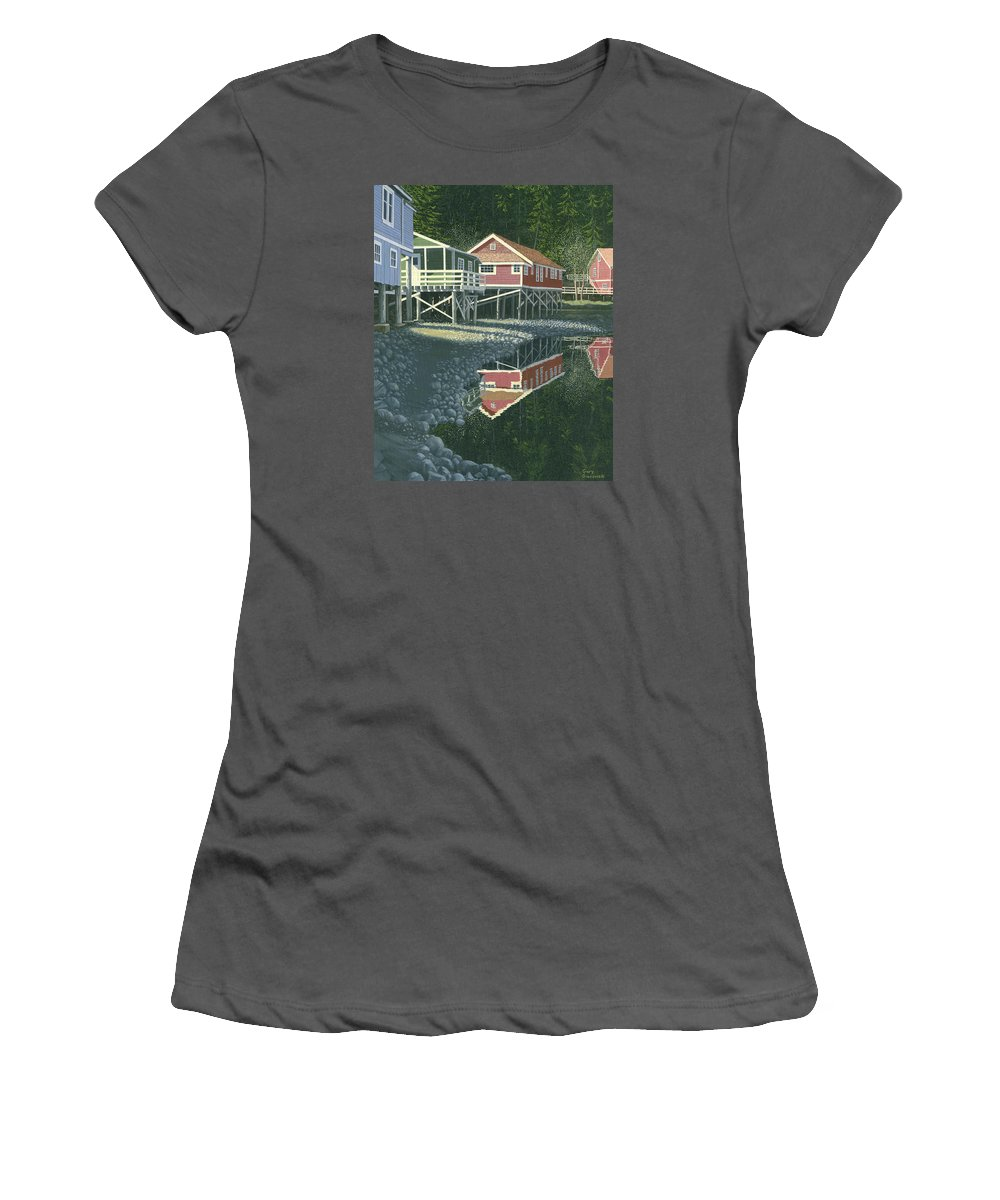 Landscape Women's T-Shirt (Athletic Fit) featuring the painting Morning At Telegraph Cove by Gary Giacomelli