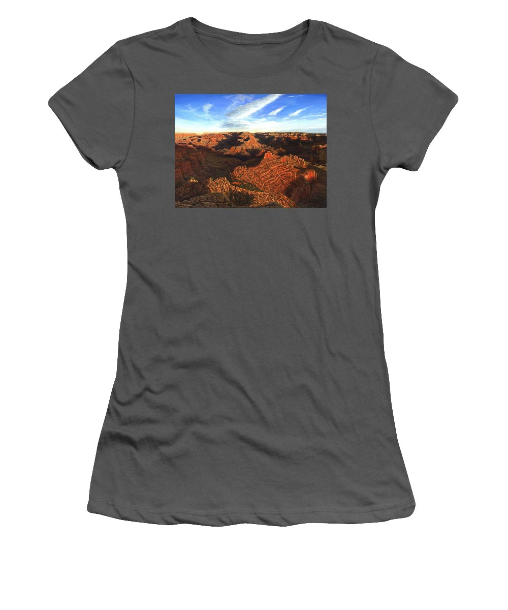 Grand Canyon Women's T-Shirt (Athletic Fit) featuring the painting Morning Glory - The Grand Canyon From Kaibab Trail by Richard Harpum