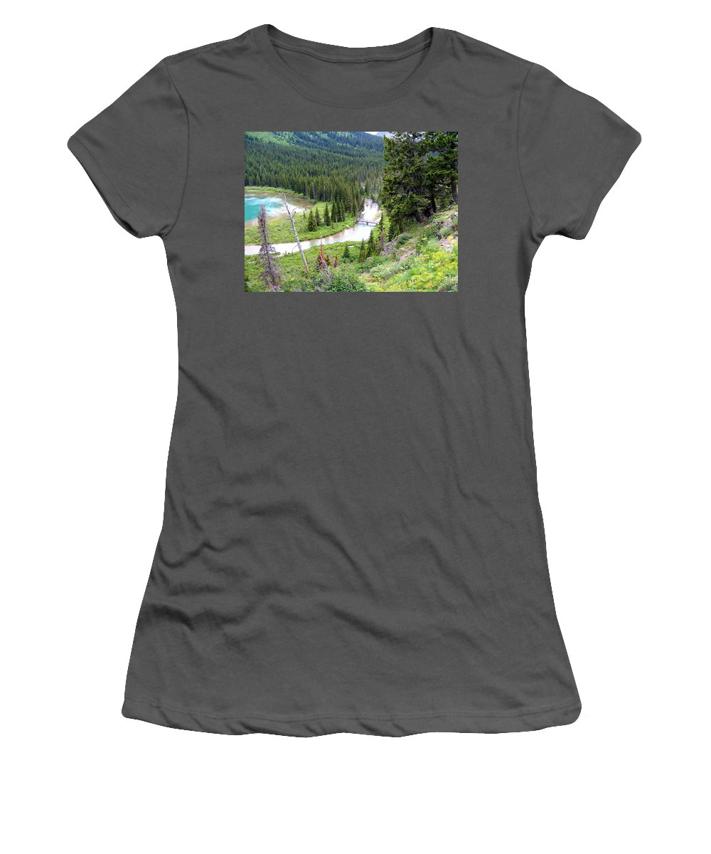 Mountains Women's T-Shirt (Athletic Fit) featuring the photograph Mountain Bridge by Mark Hudon