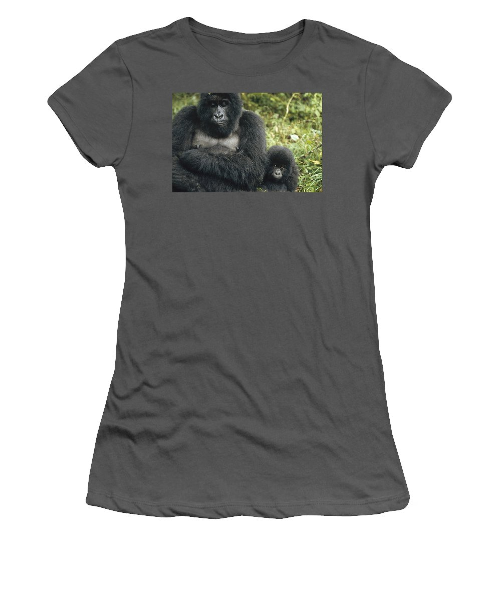 Feb0514 Women's T-Shirt (Athletic Fit) featuring the photograph Mountain Gorilla Mother And Baby by Konrad Wothe