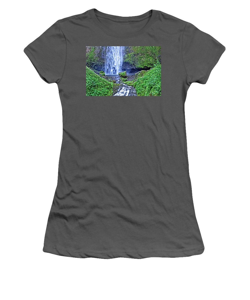 Multnomah Falls Women's T-Shirt (Athletic Fit) featuring the photograph Mulnomah Falls by Image Takers Photography LLC