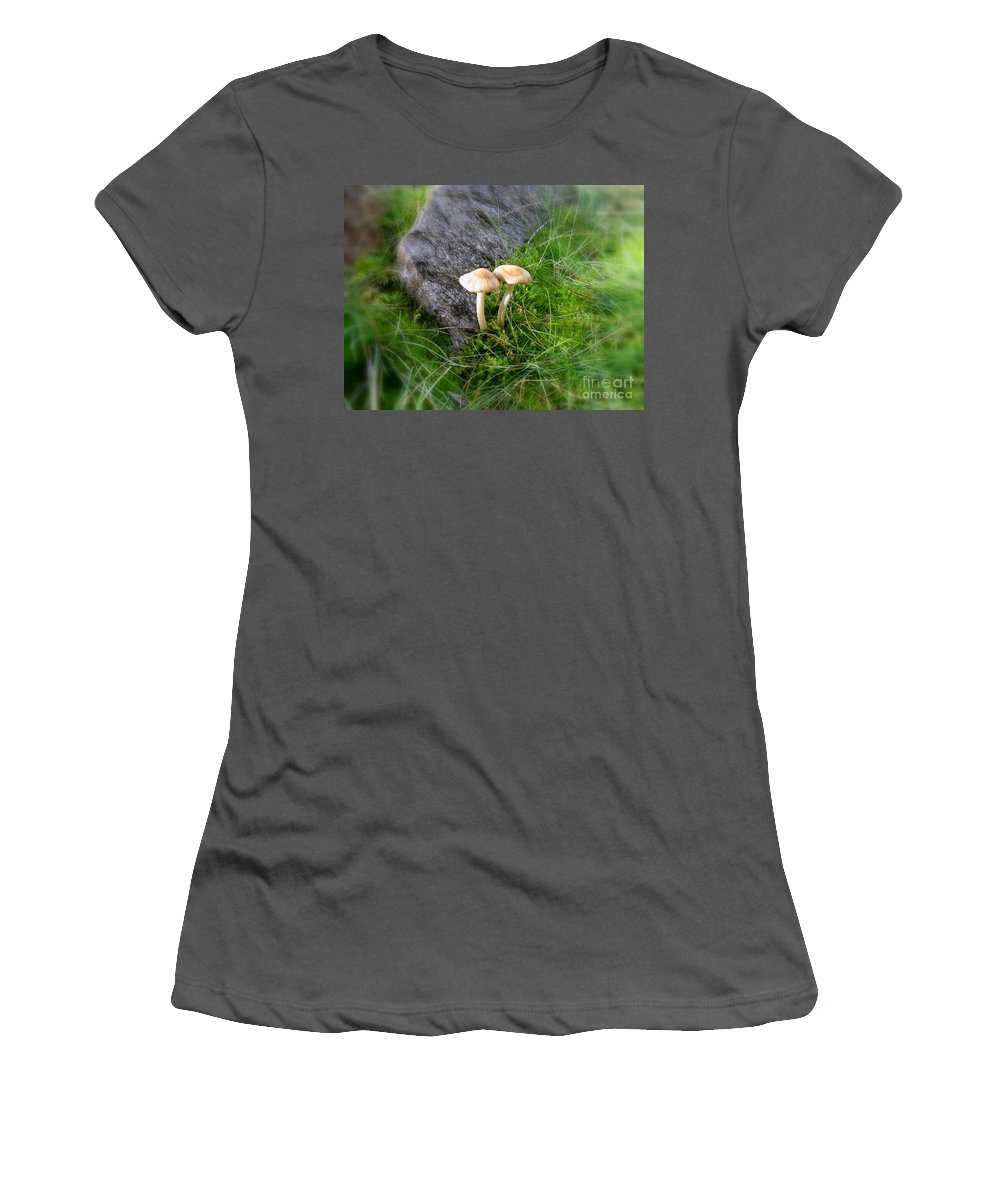 Mushrooms Women's T-Shirt (Athletic Fit) featuring the photograph Mushrooms In Grass by Leone Lund