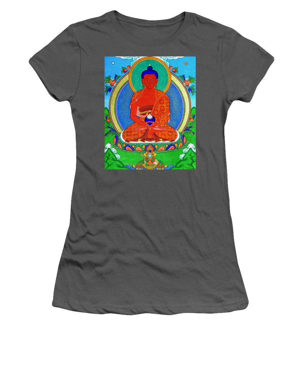 Worshipping Buddha Women's T-Shirt (Athletic Fit) featuring the photograph Namo Amitabha Buddha 16 by Jeelan Clark