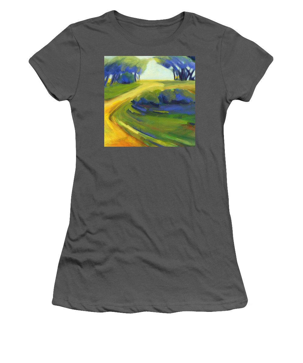 California Women's T-Shirt (Athletic Fit) featuring the painting New Beginning 1 by Konnie Kim