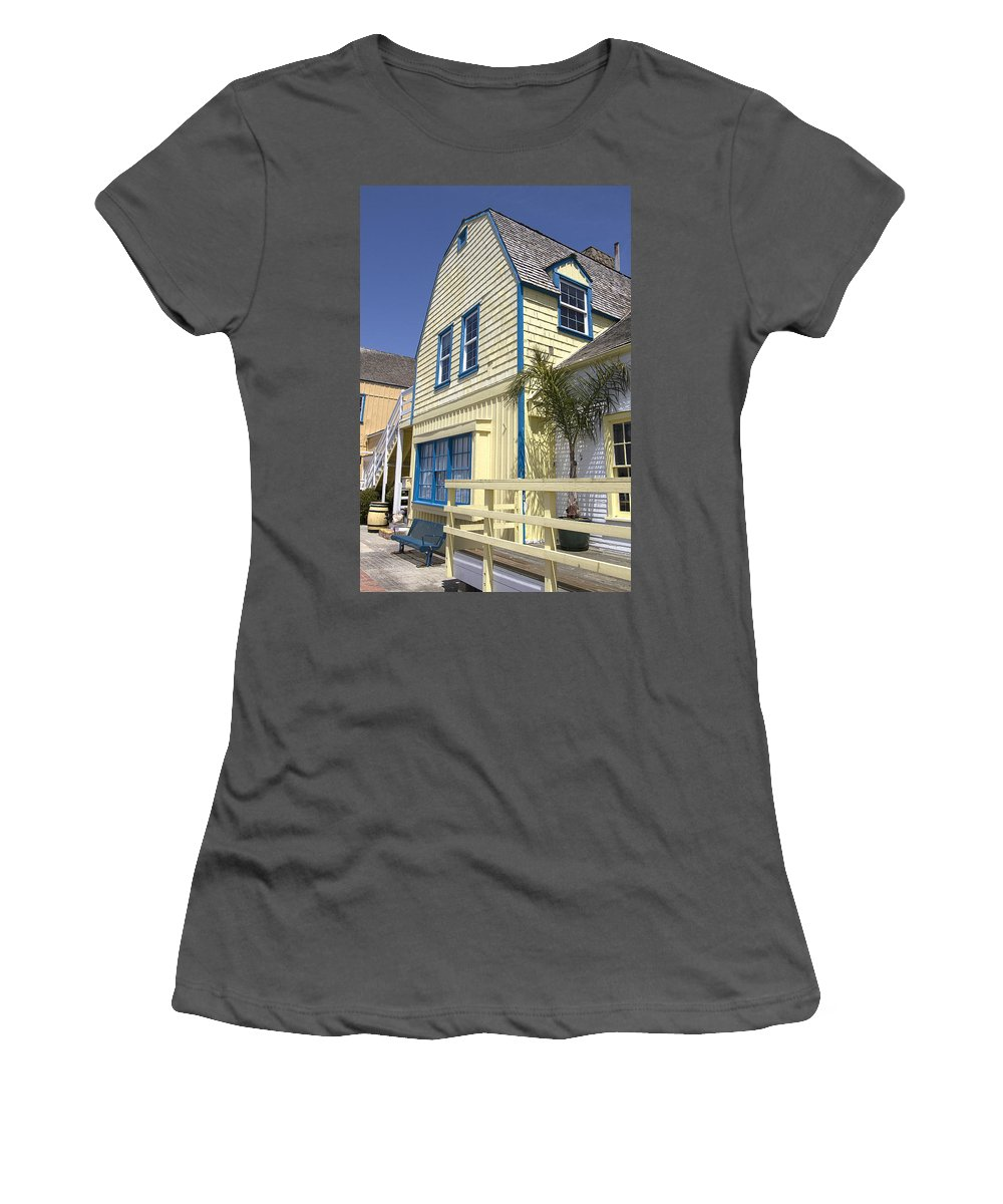 Wooden Women's T-Shirt (Athletic Fit) featuring the photograph New England Style Building At Fisherman's Village Marina Del Rey Los Angeles by Peter Lloyd