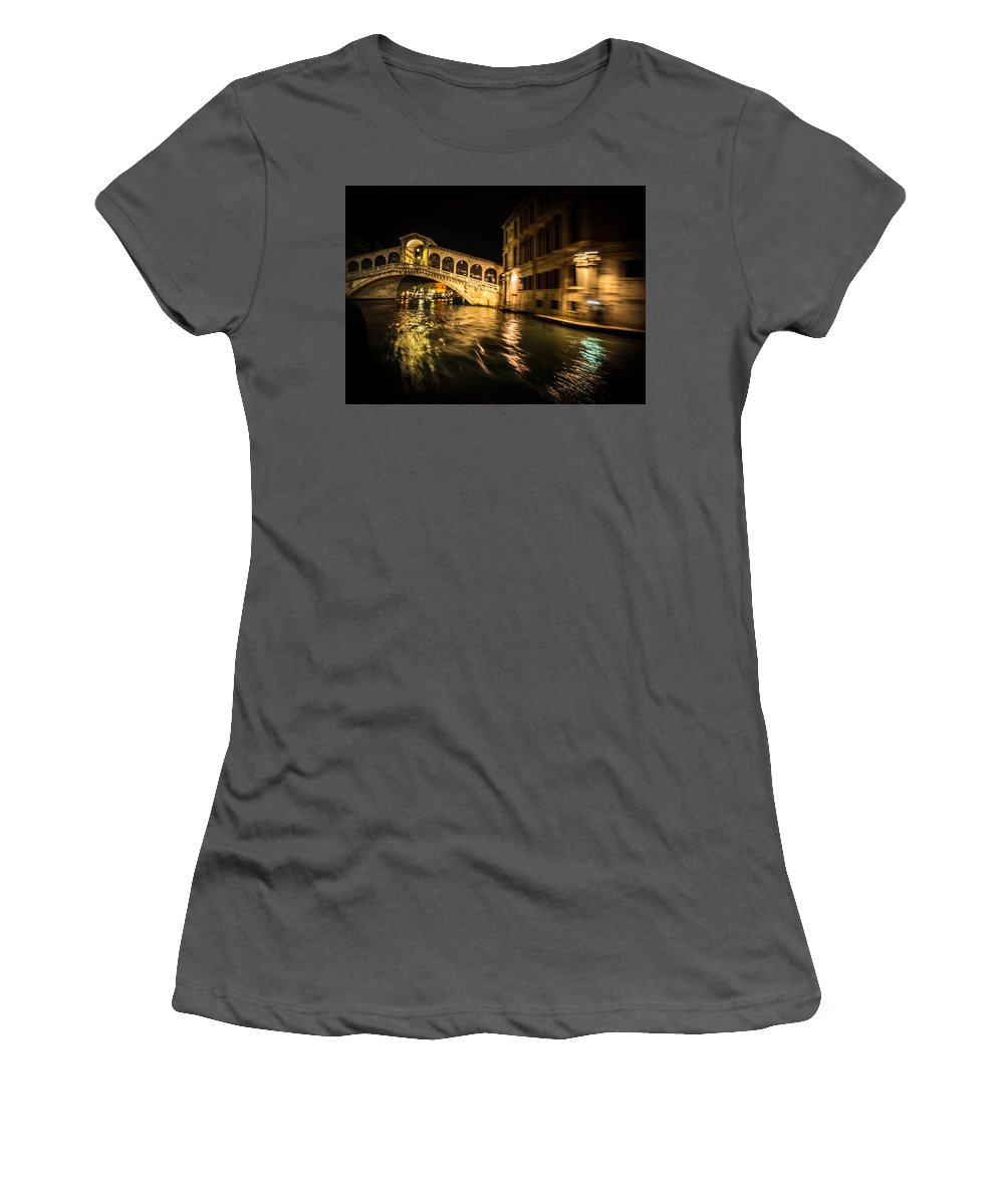 Rialto Bridge Women's T-Shirt (Athletic Fit) featuring the photograph Night On The Grand Canal by Diana Weir