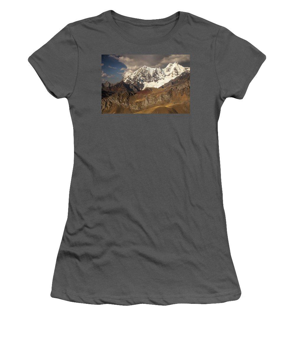 Feb0514 Women's T-Shirt (Athletic Fit) featuring the photograph Ninashanca Rondoy And Jirishanca Peaks by Colin Monteath