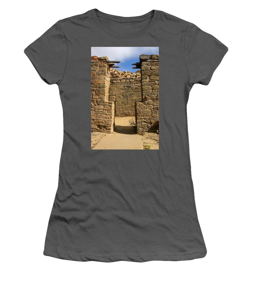 Aztec Ruins Women's T-Shirt (Athletic Fit) featuring the photograph Notched Doorway by Joe Kozlowski