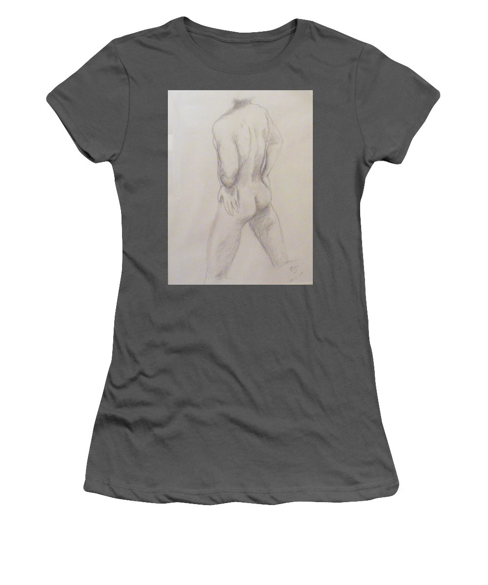 Nude Women's T-Shirt (Athletic Fit) featuring the drawing Nude Soccer Player by Barbara Jacquin