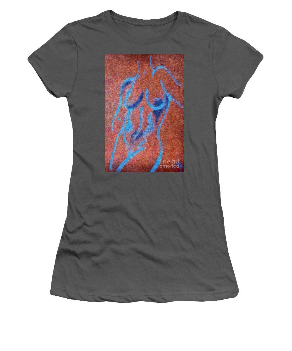 Nude Women's T-Shirt (Athletic Fit) featuring the drawing Nude V by Dragica Micki Fortuna