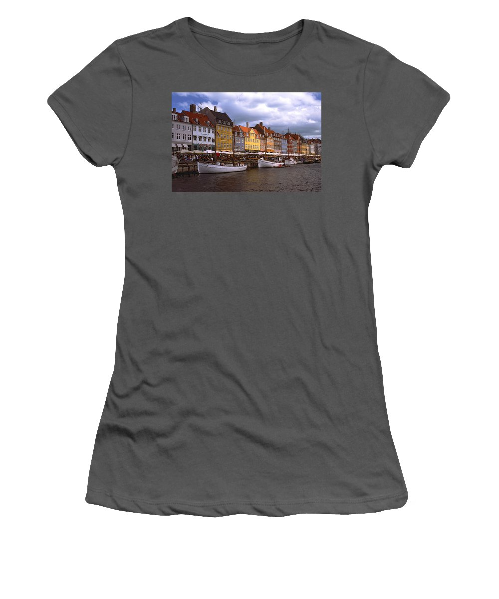 Canal Scene Women's T-Shirt (Athletic Fit) featuring the photograph Nyhavn Copenhagen by Sally Weigand