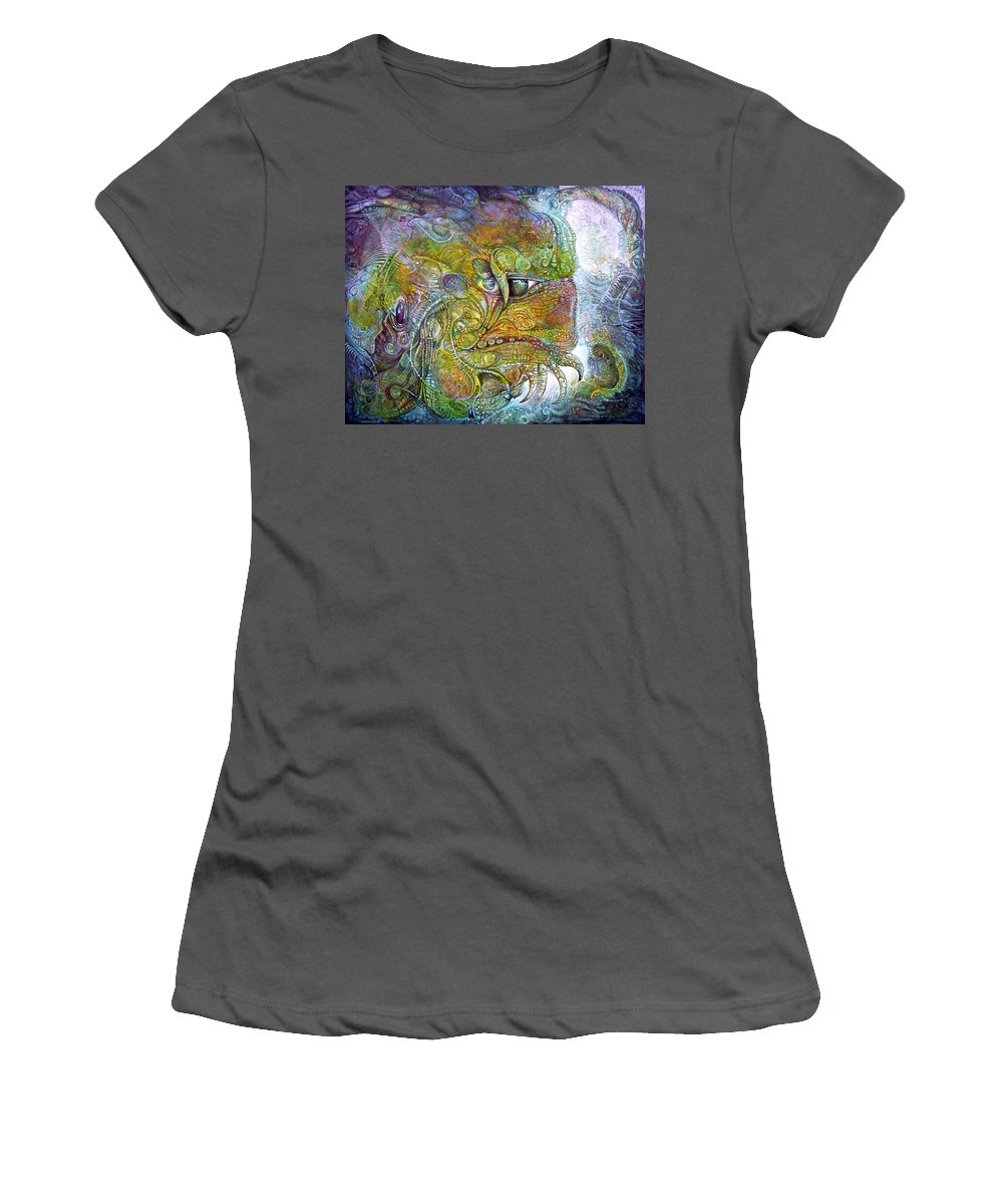Tiamat Women's T-Shirt (Athletic Fit) featuring the painting Offspring Of Tiamat - The Fomorii Union by Otto Rapp