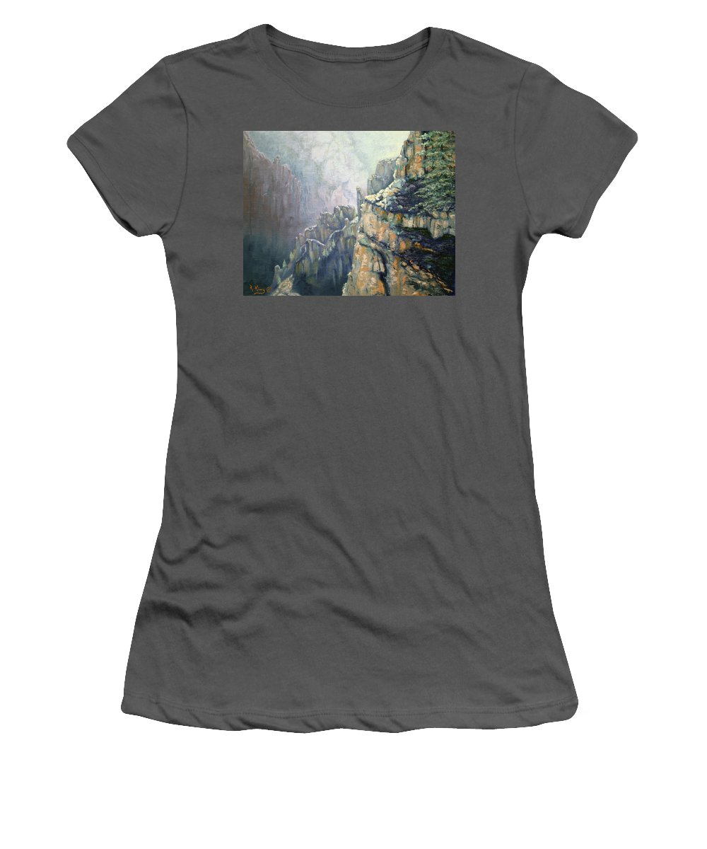 Roena King Women's T-Shirt (Athletic Fit) featuring the painting Oil Painting - Majestic Canyon by Roena King