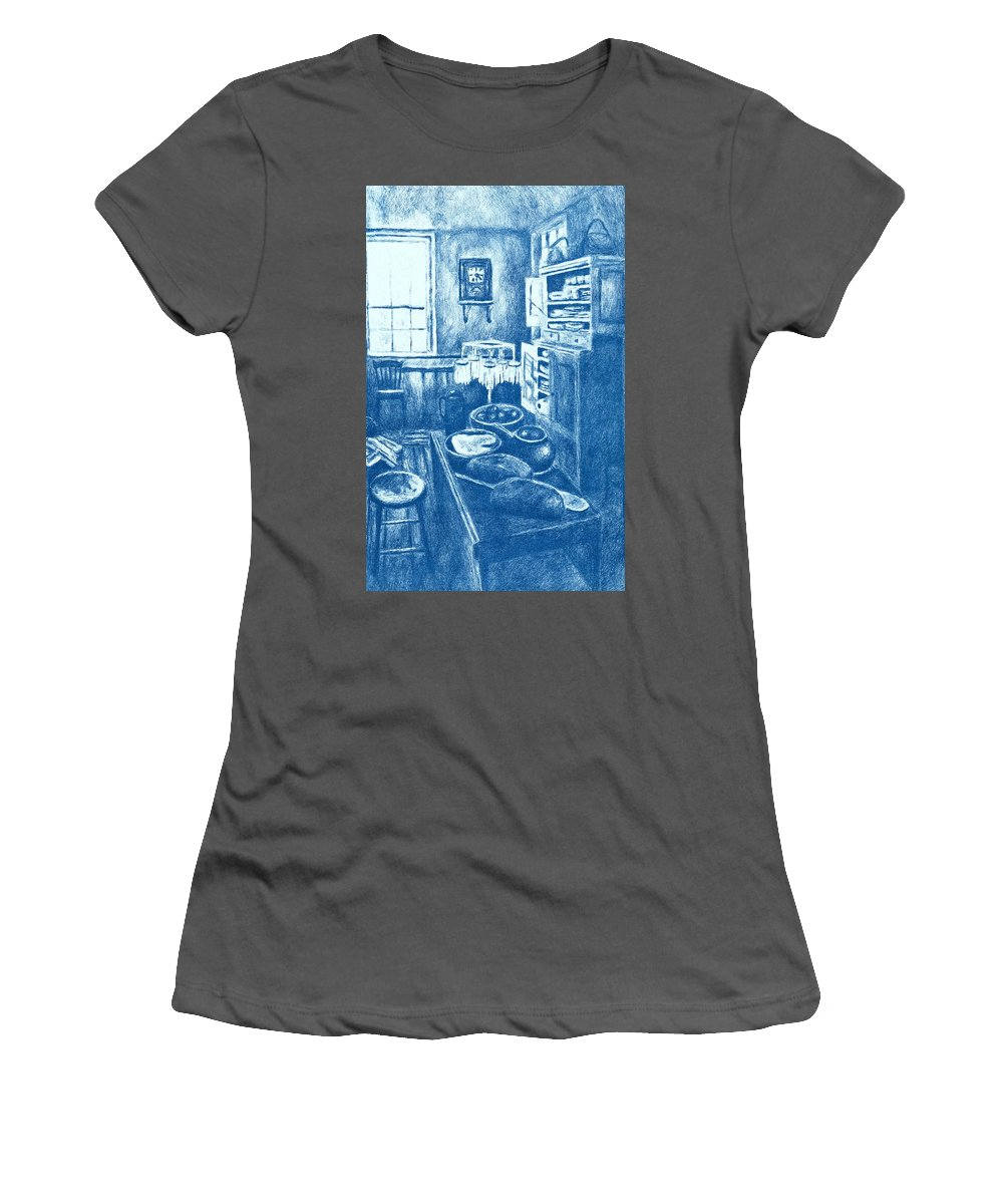 Lithograph Women's T-Shirt (Athletic Fit) featuring the drawing Old Fashioned Kitchen In Blue by Kendall Kessler