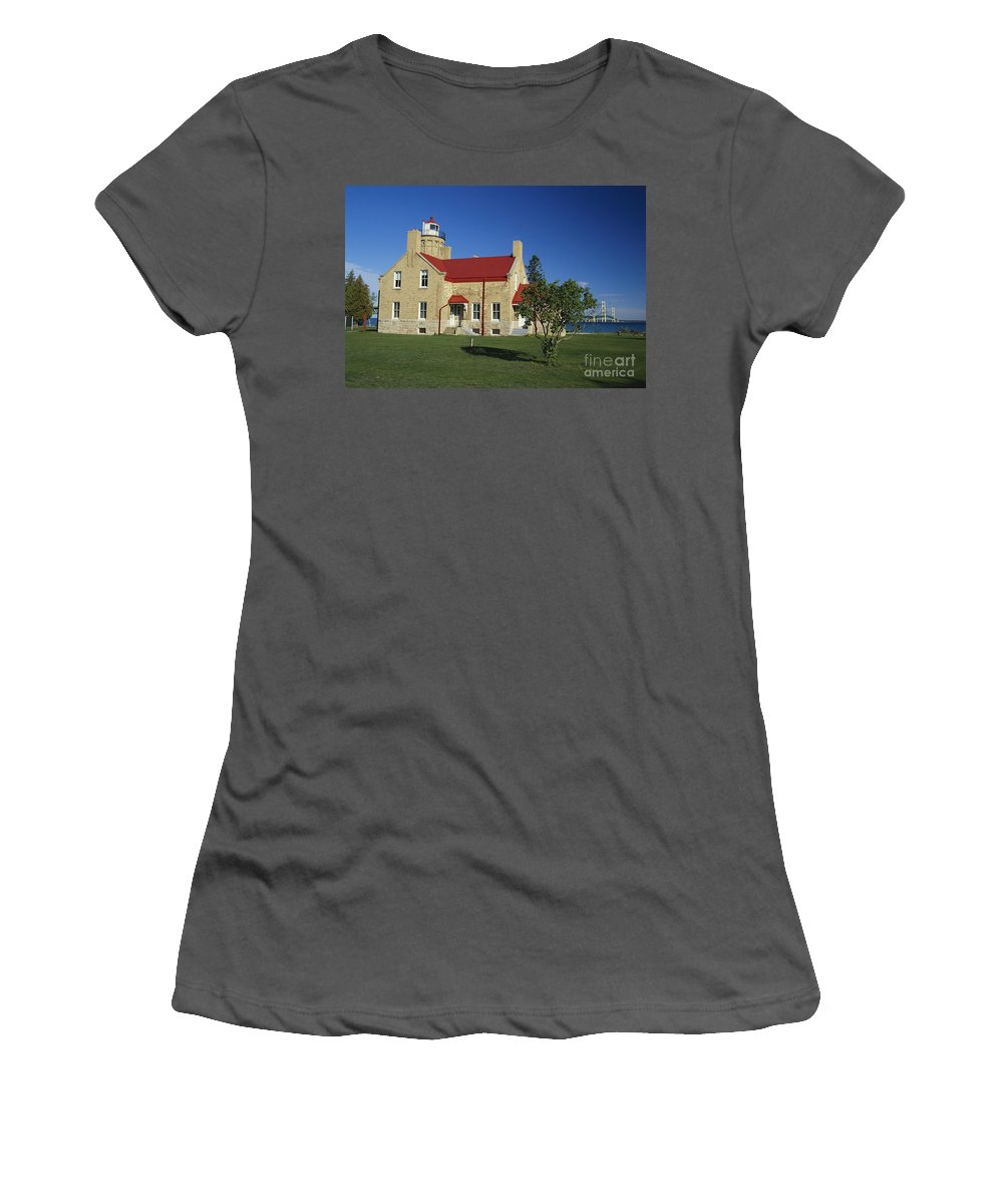 Old Mackinac Point Lighthouse Women's T-Shirt (Athletic Fit) featuring the photograph Old Mackinac Point Lighthouse by David N. Davis