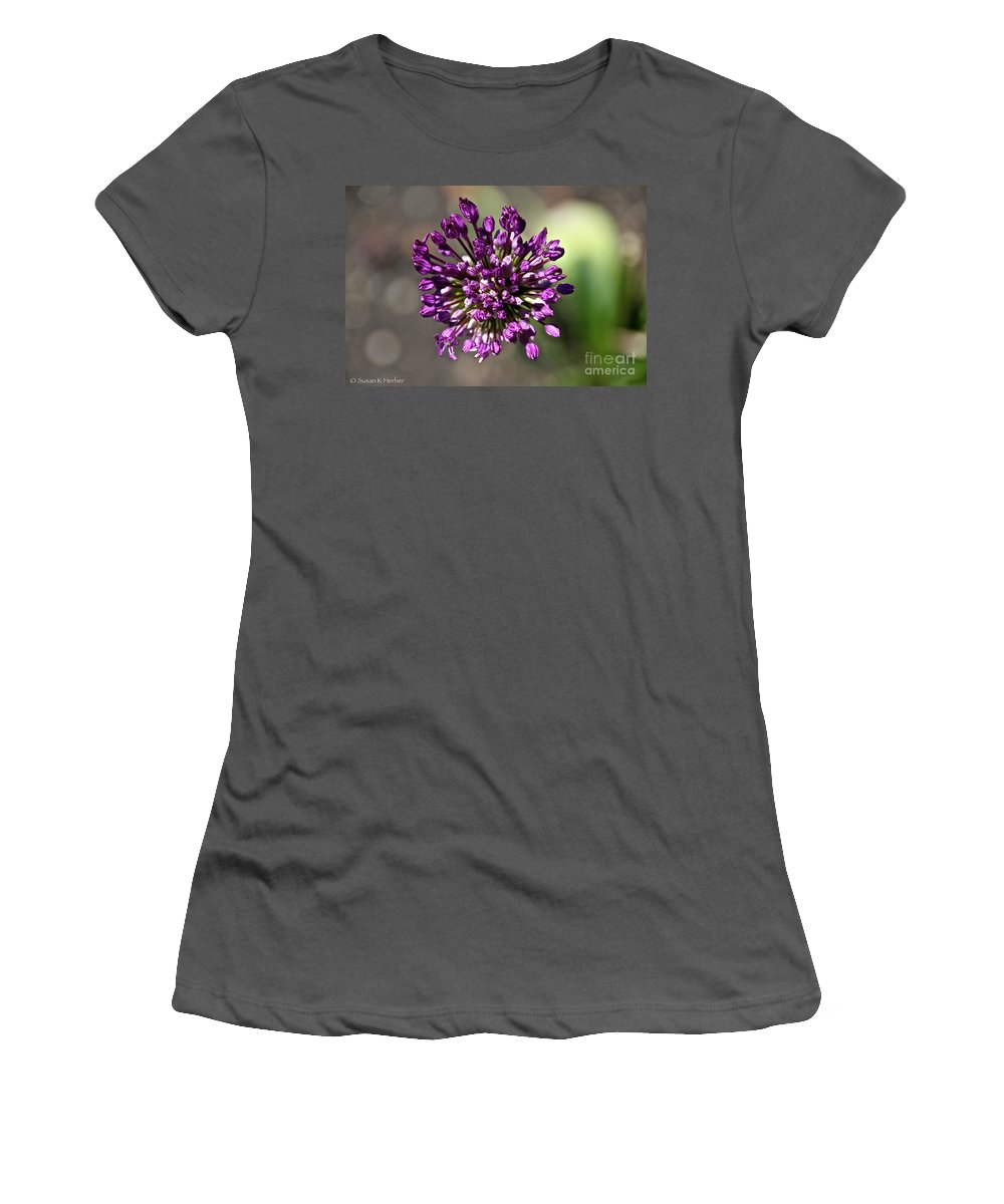 Flower Women's T-Shirt (Athletic Fit) featuring the photograph Onion Flower by Susan Herber