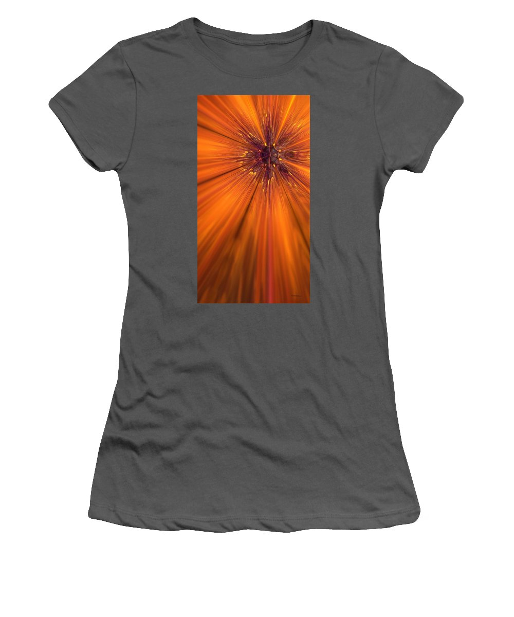 Abstract Women's T-Shirt (Athletic Fit) featuring the digital art Orange Burst by James Kramer
