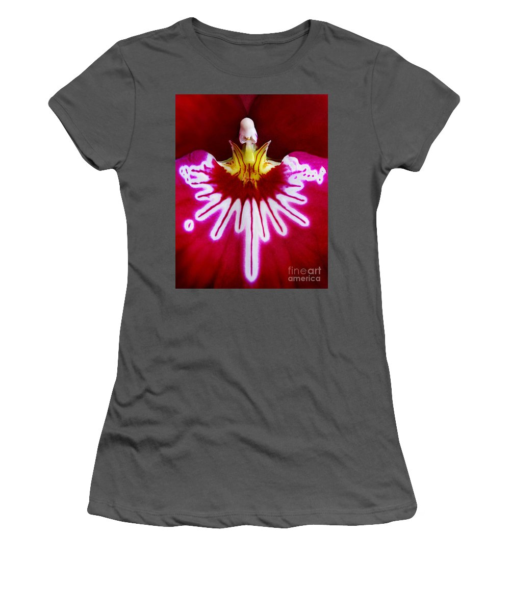 Macro Women's T-Shirt (Athletic Fit) featuring the photograph Orchid Harlequinn-pansy Orchid by Jennie Breeze